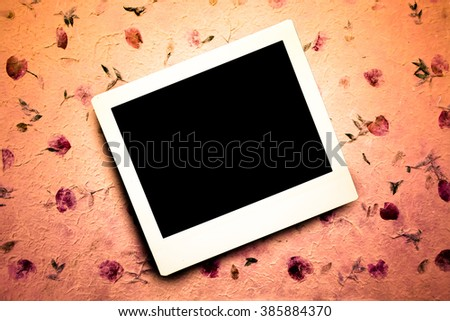 instant film with mulberry paper background ,mulberry paper is traditional handmade product in Thailand - stock photo