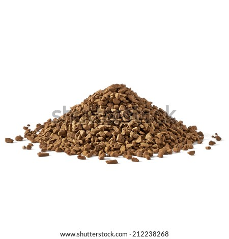 Instant granulated coffee pile on white background - stock photo