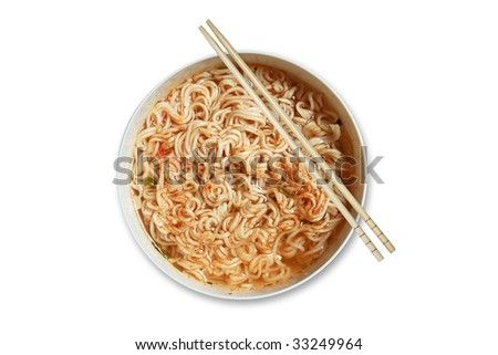 Instant noodle and chopsticks isolated with path on white background - stock photo