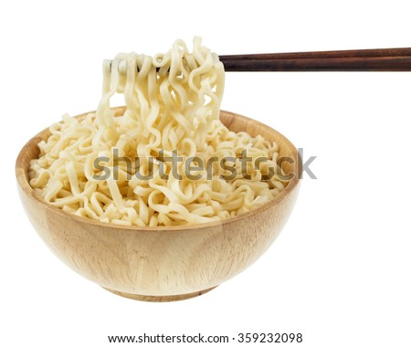 instant noodle in a bowl wooden with chopstick on white background - stock photo