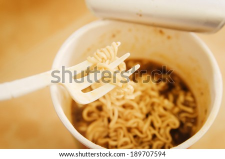 Instant noodles in filtered technic - stock photo