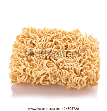 Instant noodles, isolated on white background.