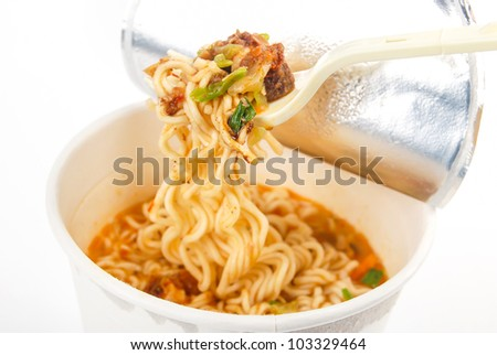 Instant noodles on white background - stock photo