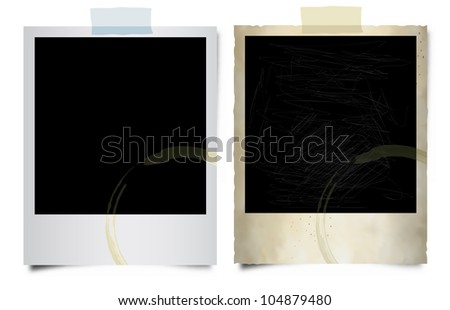 Instant Photo Frames. Old and new with sticky tape. - stock photo