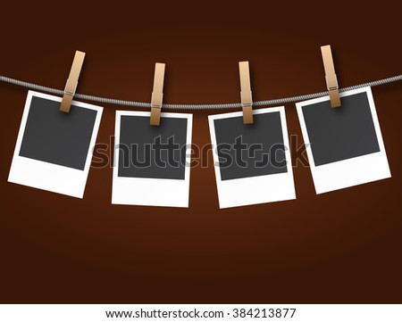 Instant Photo Frames on Rope on dark background Illustration  Raster version
