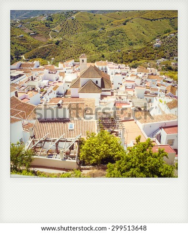 Instant photo of white town, Frigiliana in Andalusia