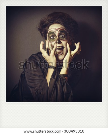 Instant photo of woman in disguise for Halloween - stock photo
