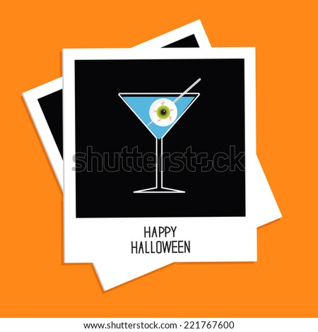 Instant photo with martini glass blue cocktail and eyeball. Halloween card. Flat design.  - stock photo