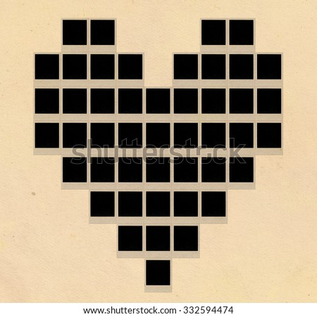 Instant photos in heart shape - stock photo