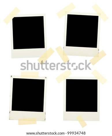 Instant photos with sticky ribbons isolated on a white background - stock photo