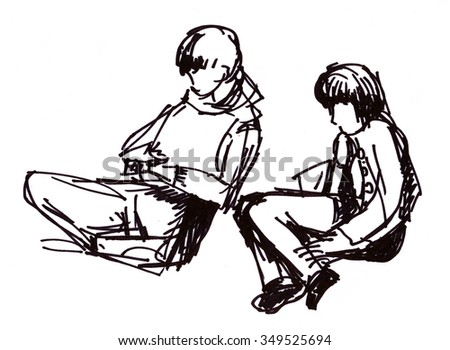 Instant sketch, figures of sitting boy and girl