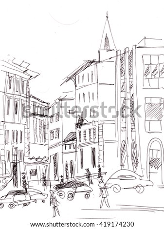 Instant sketch, Moscow street with cars  and people