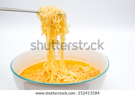 Instant spicy noodles isolated. - stock photo