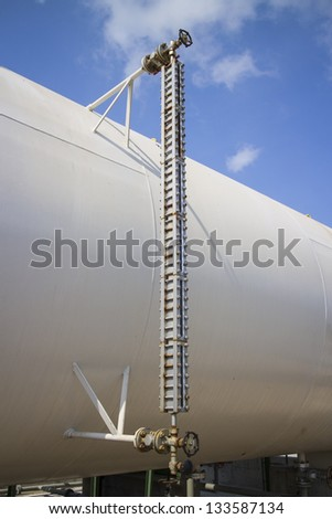 Instrial Level Gauge for tank measurement. - stock photo