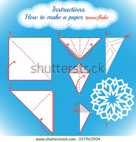 Instructions how make paper snowflake tutorial stock for How to make a real paper snowflake