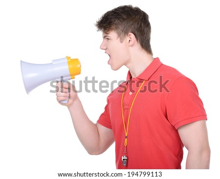 Instructor with megaphone. Coach Shouting in megaphone