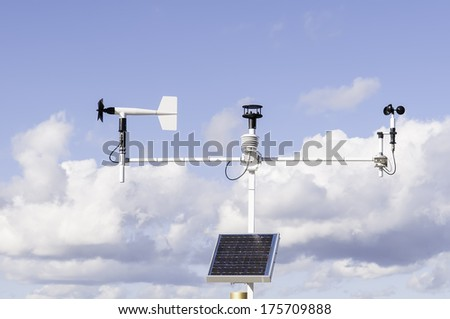 Instruments for climate analysis: Solar-powered weather station at Fort Caroline National Memorial along the St. Johns River in Jacksonville, Florida, USA - stock photo