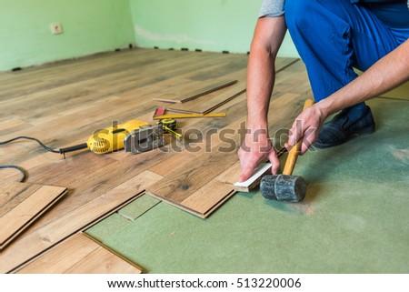 Instruments Installing Laminate Floor Stock Photo Royalty Free