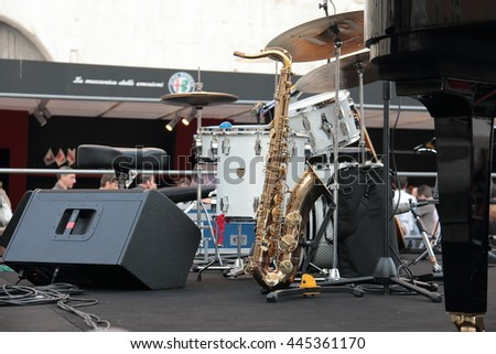"Instruments of jazz band. ""Notte Bianca"" urban free event  in Bresca Italy May 21, 2016"