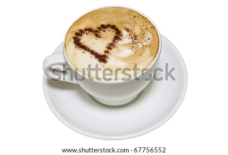 insulated coffee cup with heart - stock photo