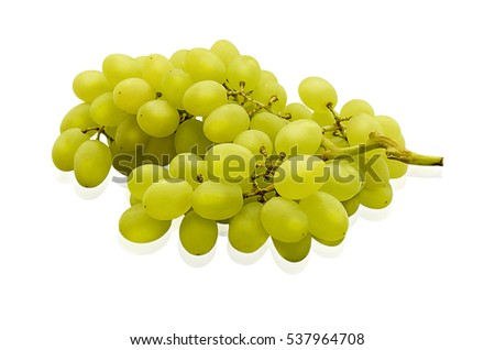 Insulated green grapes. White grapes with leaves isolated on white background
