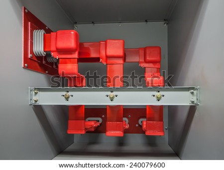 Insulated High voltage buswork.  Actual classification is medium voltage for this 4160 volt system.  This is in the rear compartment of switchgear. - stock photo
