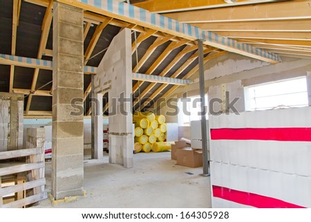 Insulation on a new roof - stock photo