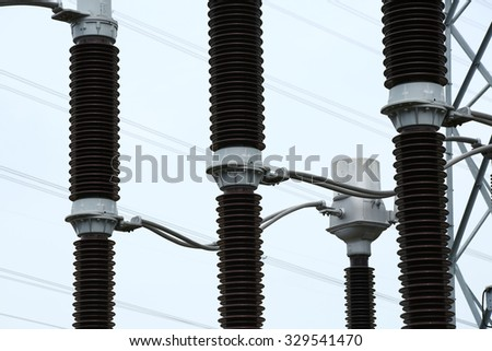 Insulation supports of the high voltage - stock photo