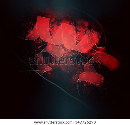 Insulin peptide hormone molecule. Used in treatment of diabetes. Cartoon  representation. Secondary structure coloring (red helices). - stock photo