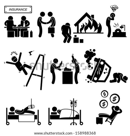 Insurance Agent Property Accident Robbery Medical Coverage Relieve Stick Figure Pictogram Icon - stock photo