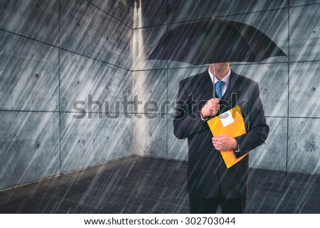 Insurance Agent with Umbrella Protecting from Rain in Urban Outdoor Setting, Risk Assessment and Analysis - stock photo