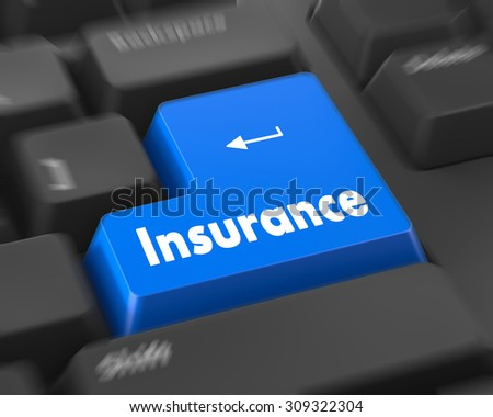 Insurance - Business Concept. Button on Modern Computer Keyboard. 3D Render.