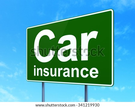 Insurance concept: Car Insurance on green road highway sign, clear blue sky background, 3d render - stock photo
