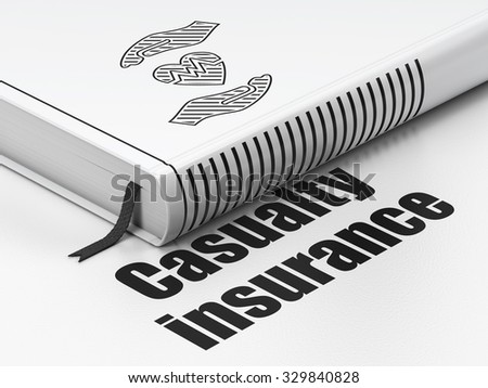 Insurance concept: closed book with Black Heart And Palm icon and text Casualty Insurance on floor, white background, 3d render