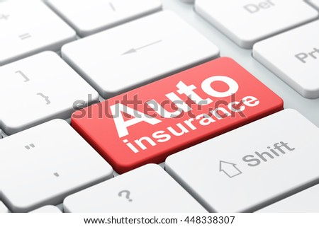 Insurance concept: computer keyboard with word Auto Insurance, selected focus on enter button background, 3D rendering