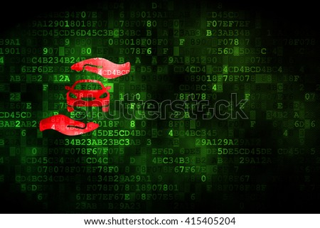 Insurance concept: pixelated Car And Palm icon on digital background, empty copyspace for card, text, advertising - stock photo