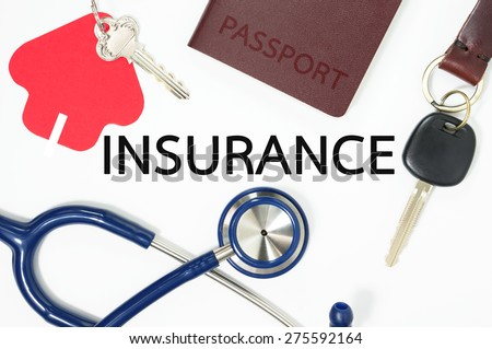 Insurance concept with many type of insurance for home, car, health, travel, life  - stock photo