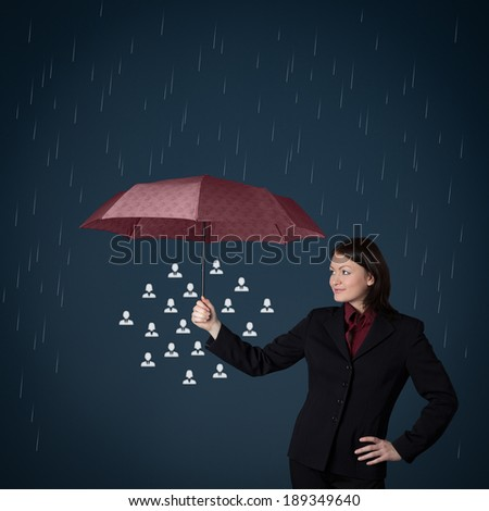Insurance, customer care or labor union concepts - insurance agent protect group of people against rain.