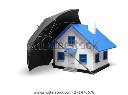 Insurance. 3D. House and car insurance - stock photo