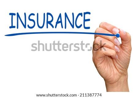 Insurance - female hand writing text - white background - stock photo
