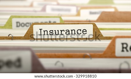 Insurance - Folder Register Name in Directory. Colored, Blurred Image. Closeup View. - stock photo