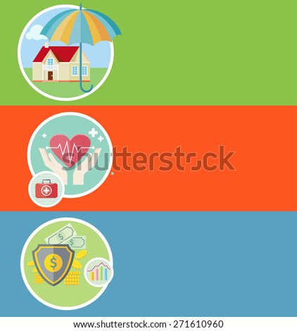 Insurance icons set concepts of home insurance, health insurance, business risk insurance. Concepts in flat design. Raster version - stock photo
