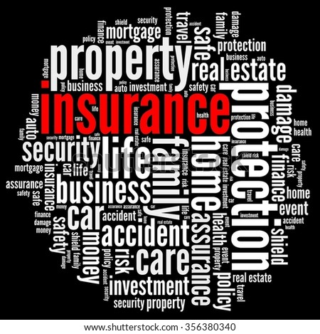Insurance in word collage - stock photo