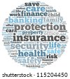 insurance info-text graphics and arrangement concept on white background (word cloud) - stock
