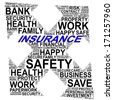 INSURANCE info text graphics and arrangement concept (word clouds) on white background - stock