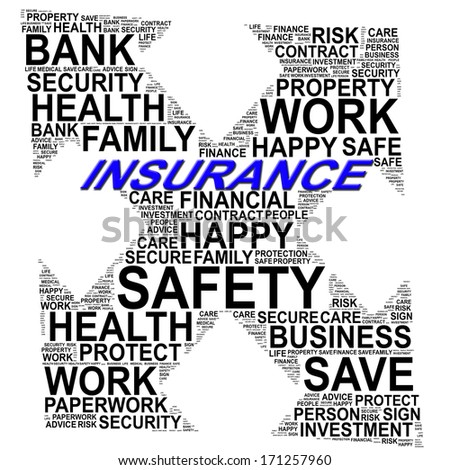 INSURANCE info text graphics and arrangement concept (word clouds) on white background - stock photo