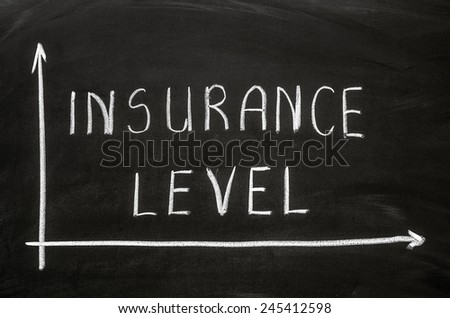 Insurance level words handwritten with white chalk on a blackboard - stock photo