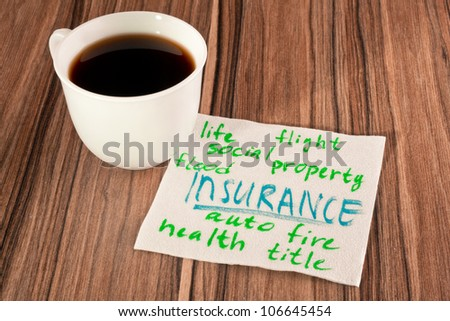 Insurance on a napkin and cup of coffee