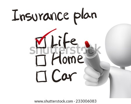 insurance plan checklist checking by 3d man over transparent board