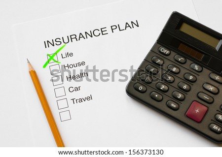 Insurance plan thick box diagram with tick on life - stock photo